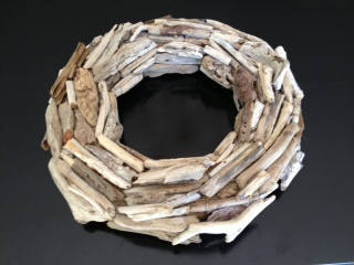 Completed driftwood wreath