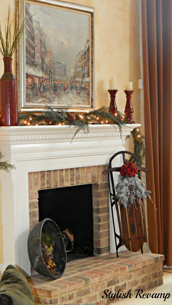 Fireplace mantle decorated for christmas