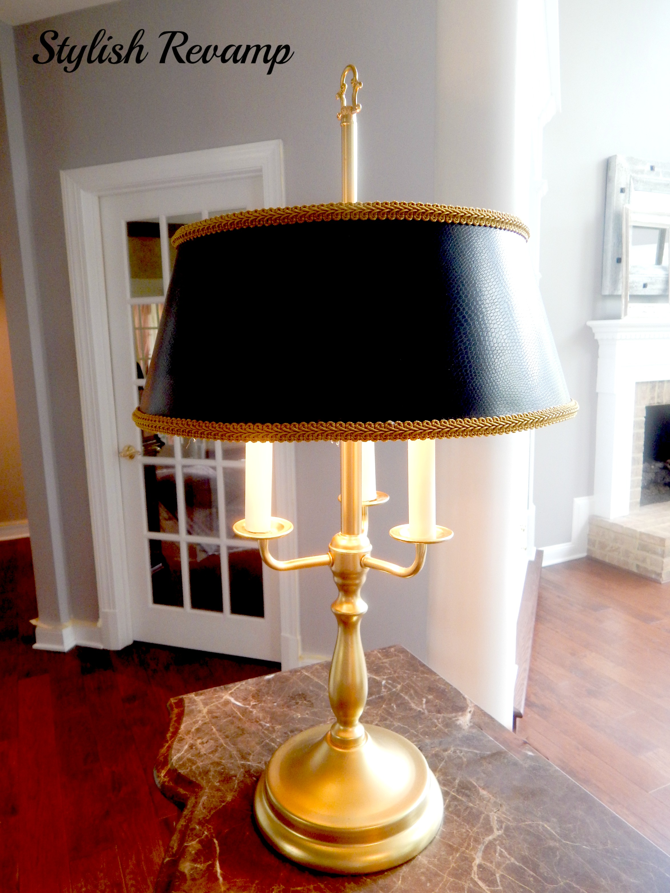 Black and Gold thrift shop lamp 1