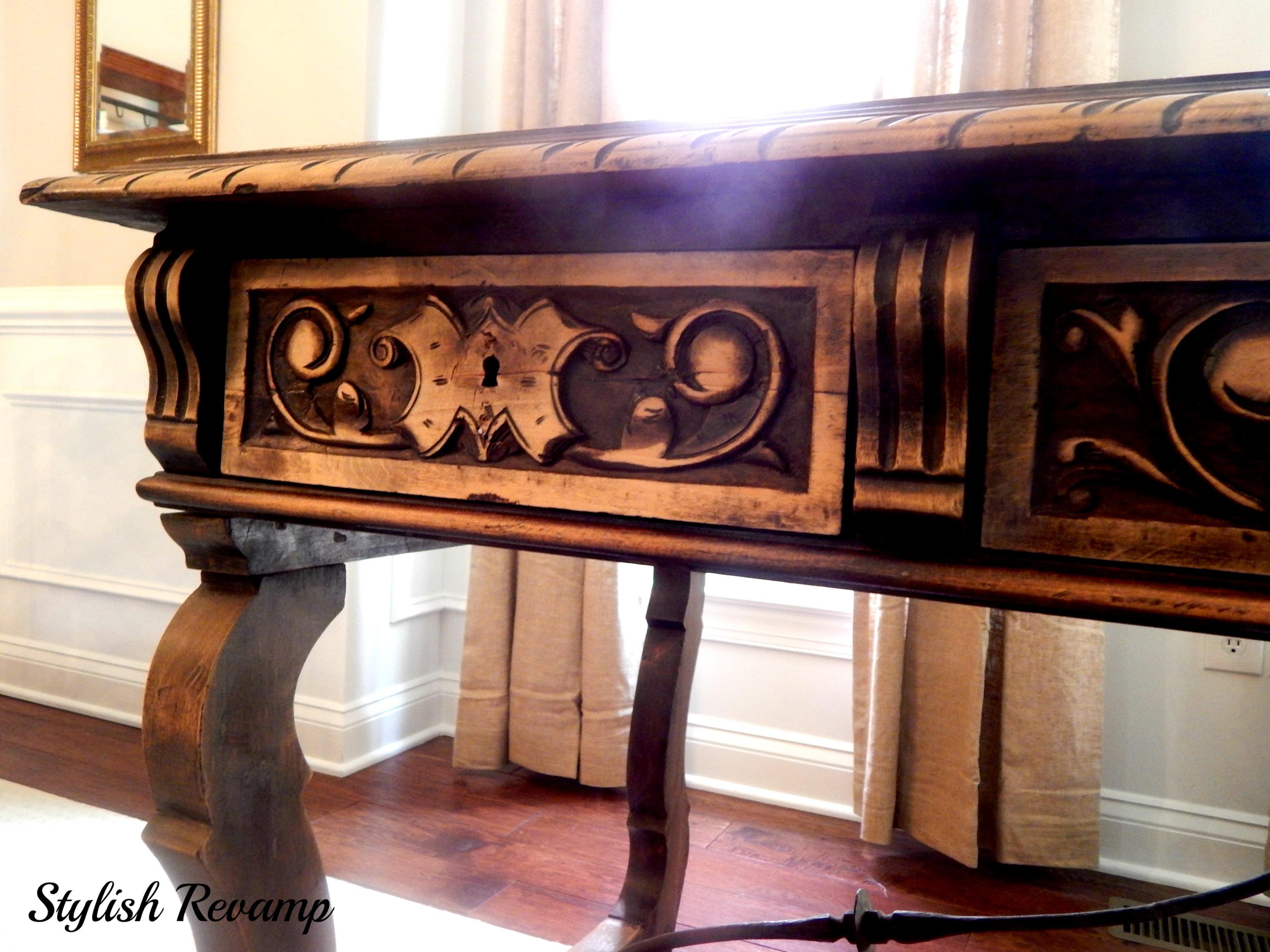 Carved Details on the Desk