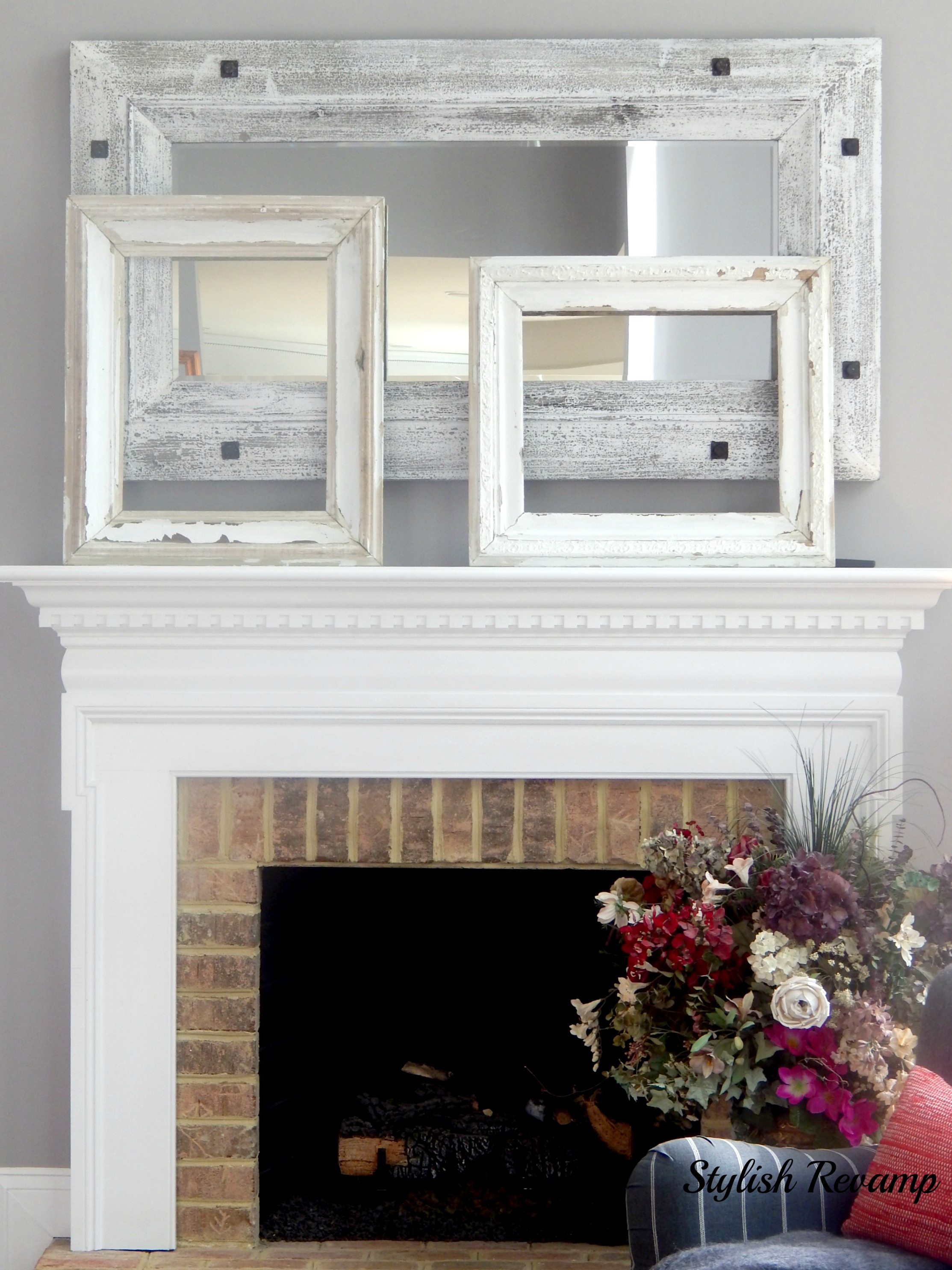 Fireplace mantel with thrift shop finds1
