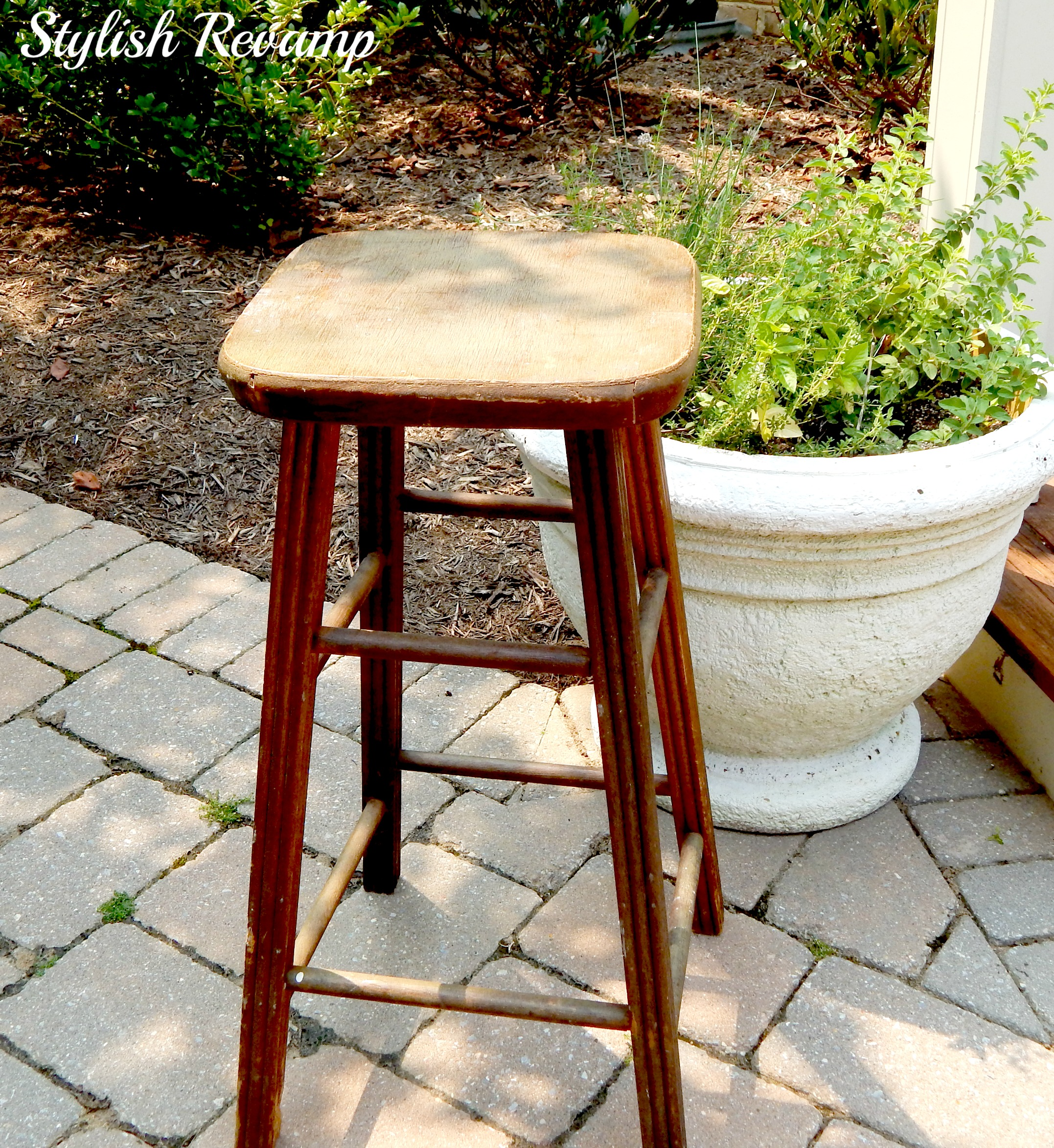 Vintage Wooden Stool From Thrift Shop