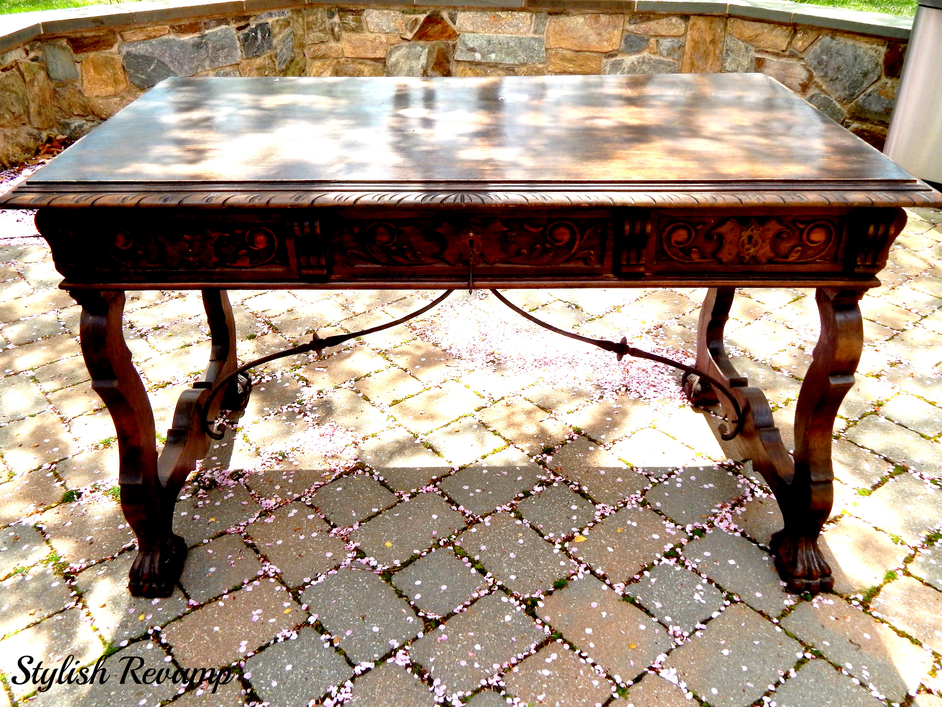 Wood Desk with Iron Details and wood Carvings