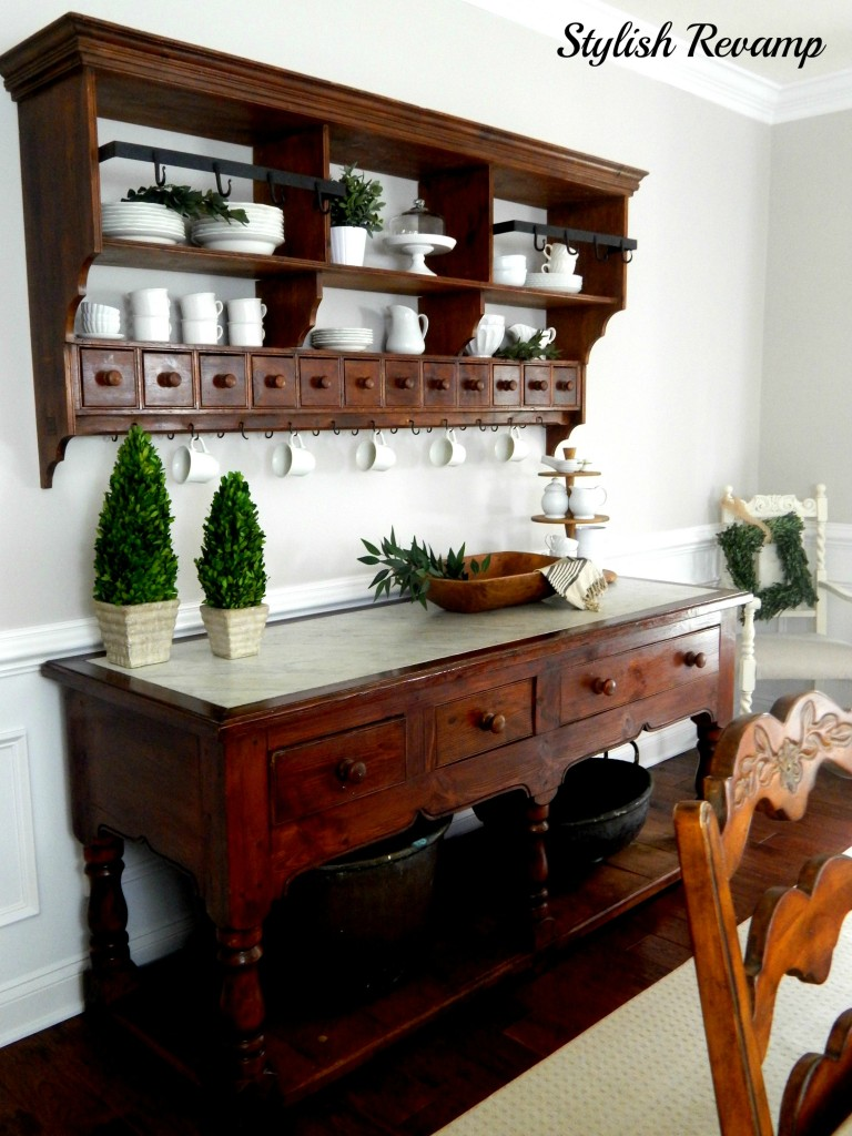 Buffet with Shelf and Carrera Marble top