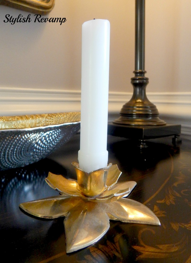 GoodWill Gold Flower Candle Holder