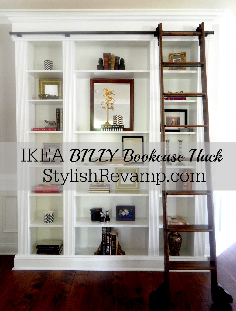 Ikea Billy Bookcases with a rolling library ladder