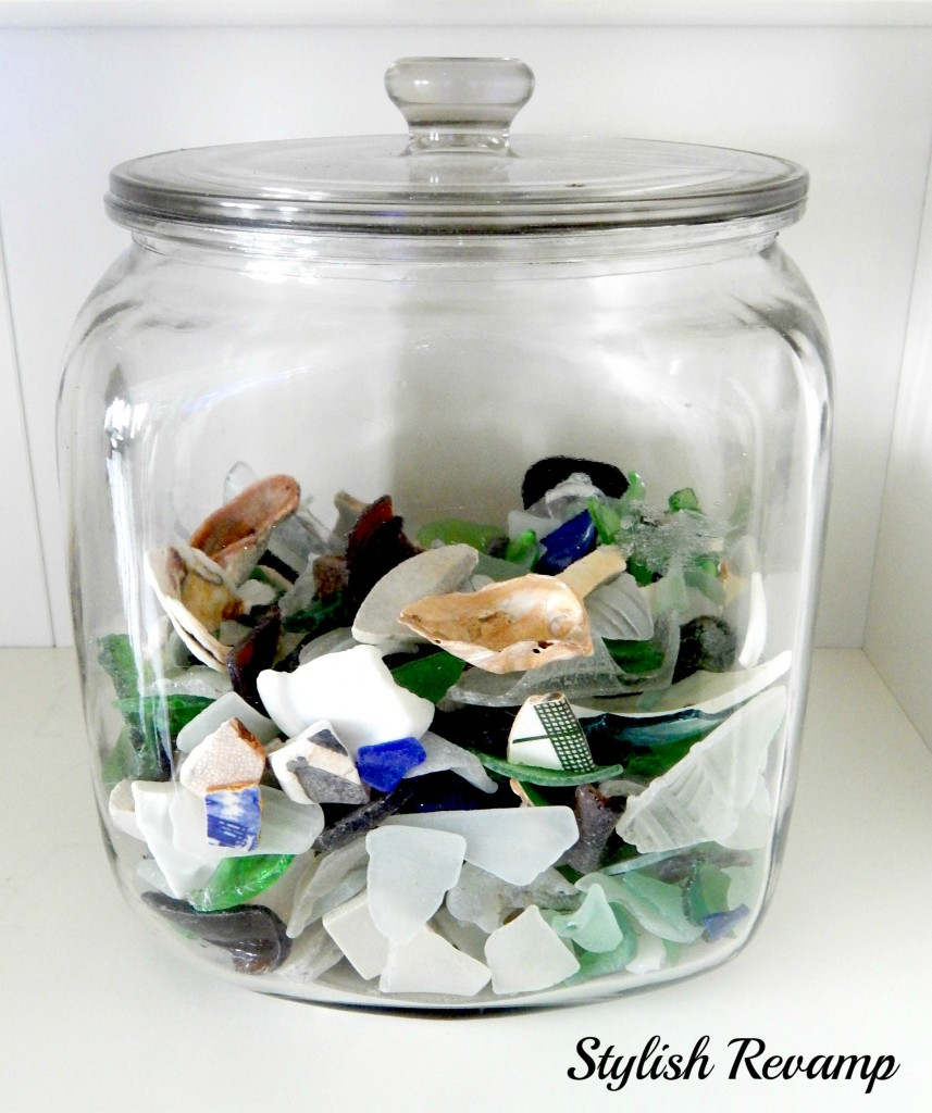Glass Jar with Sea Glass and pottery