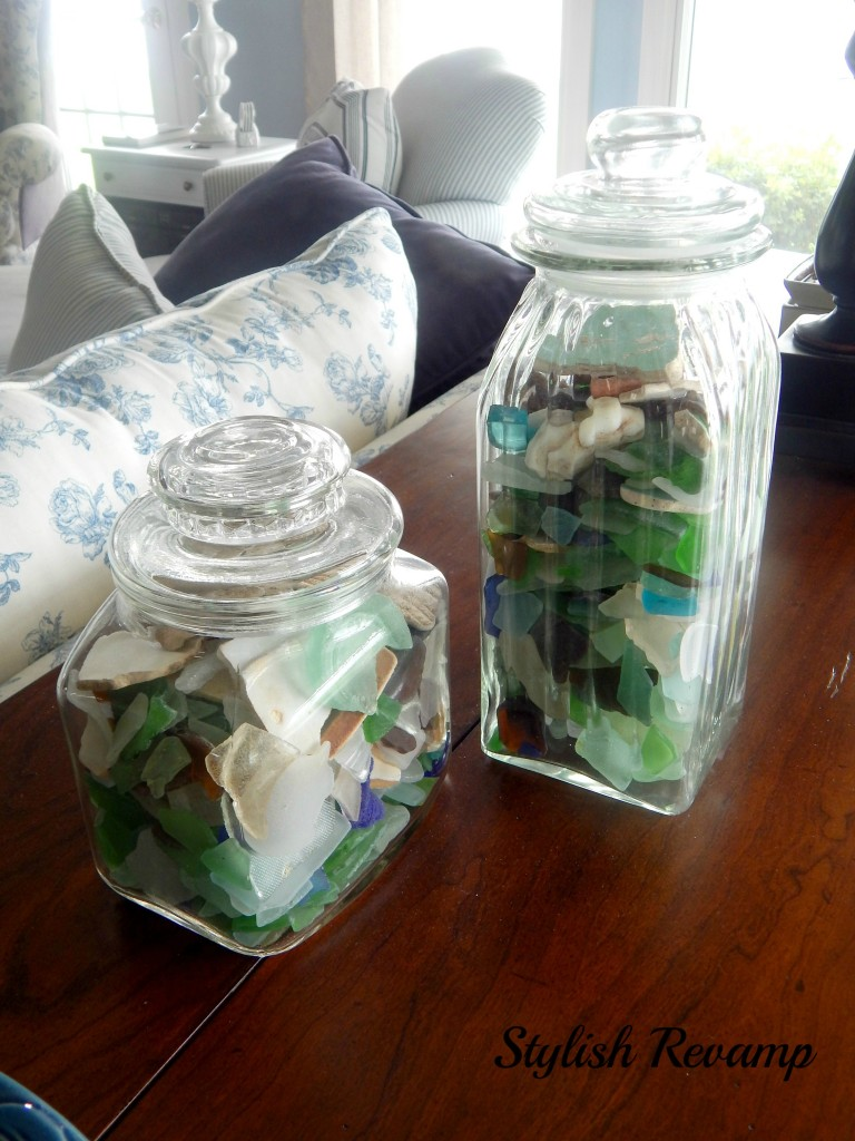 Glass Jars Filled with Sea Glass