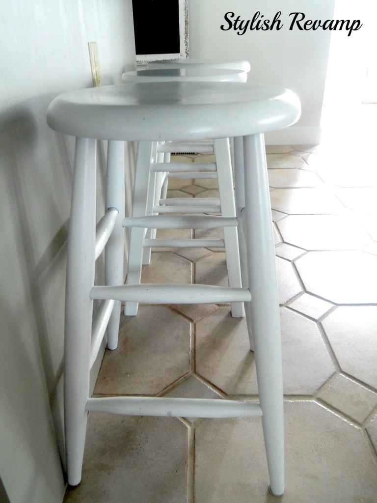 Island Stools Sprayed Bright White