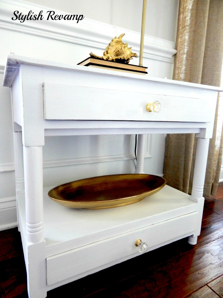 White with Touches of Gold Wash Stand