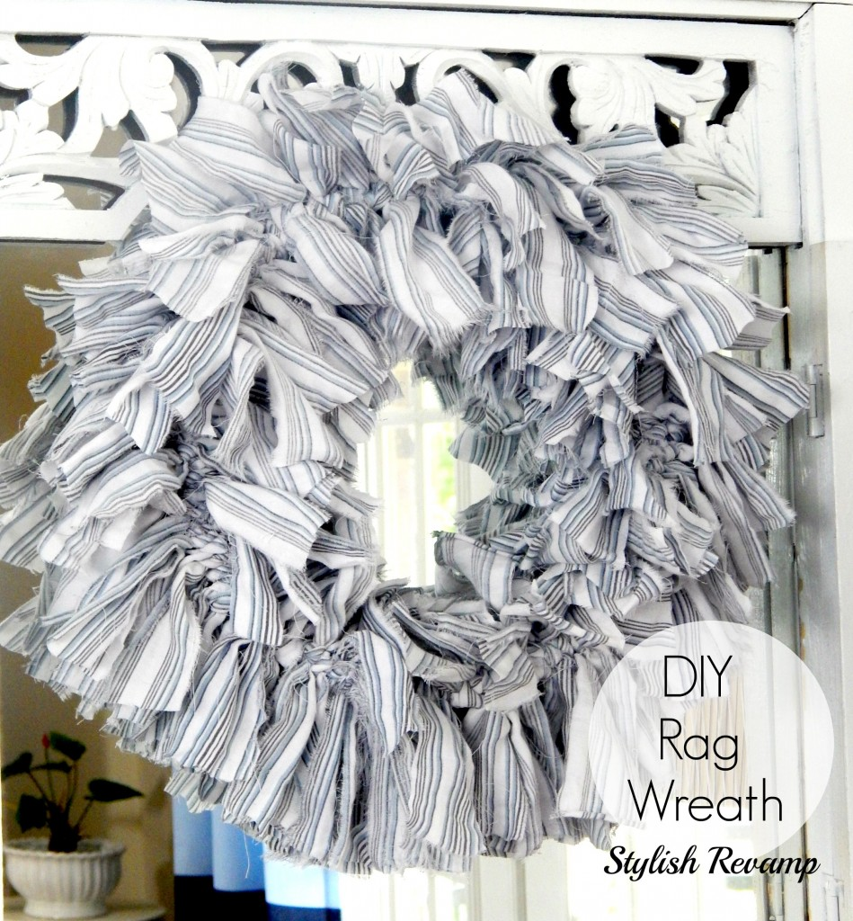 Blue and White DIY Rag Wreath