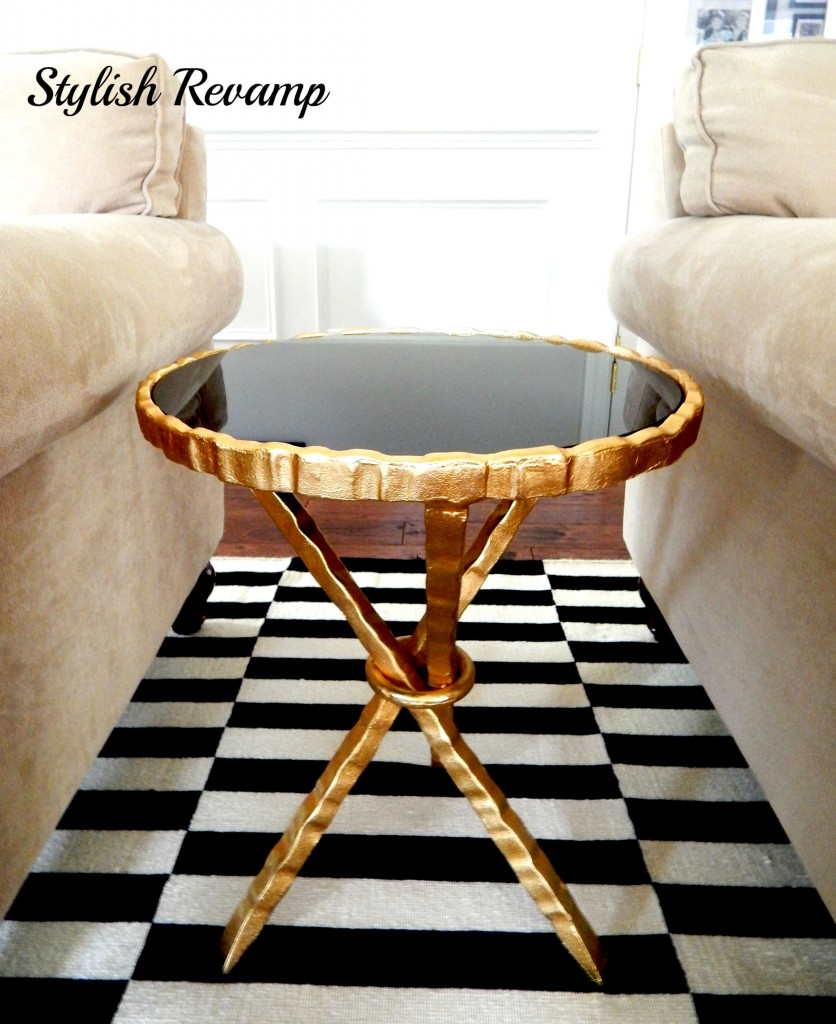 Gold and Black Marble Top Side Table