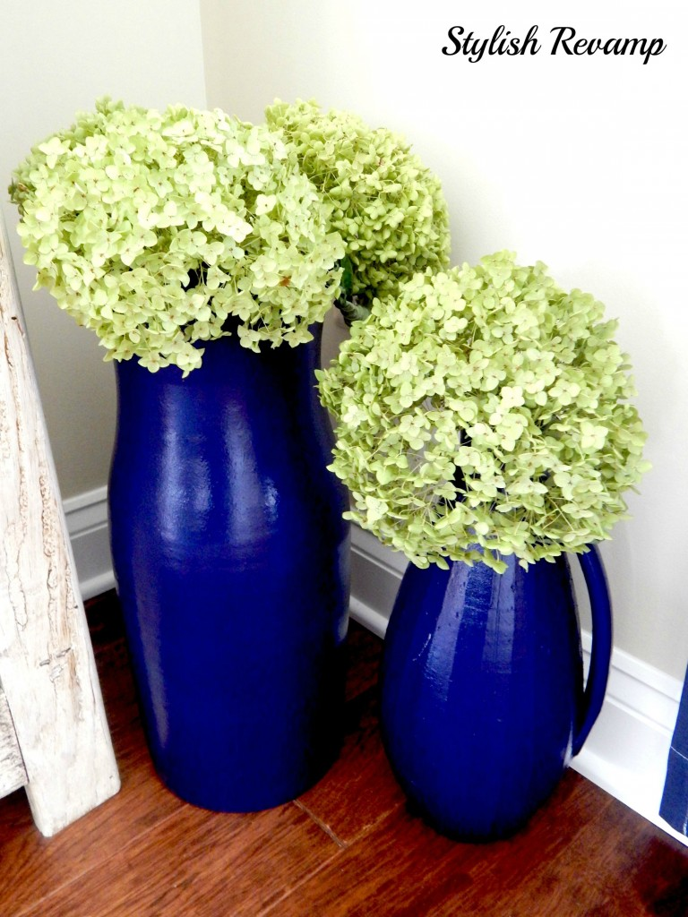Hydrangeas in navy pots