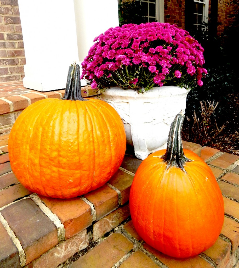 pumpkins and planters of mums on the front porch