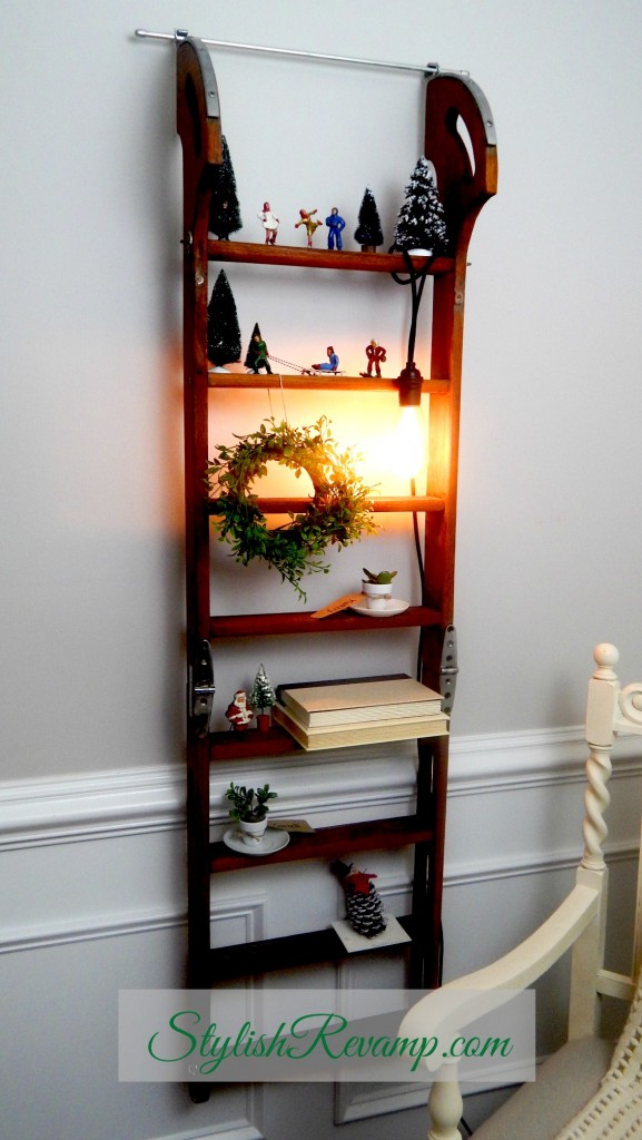 Christmas Scene on an Up Cycled Ladder