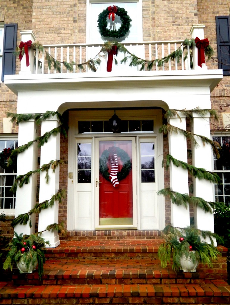 Front Doorway dressed for Christmas