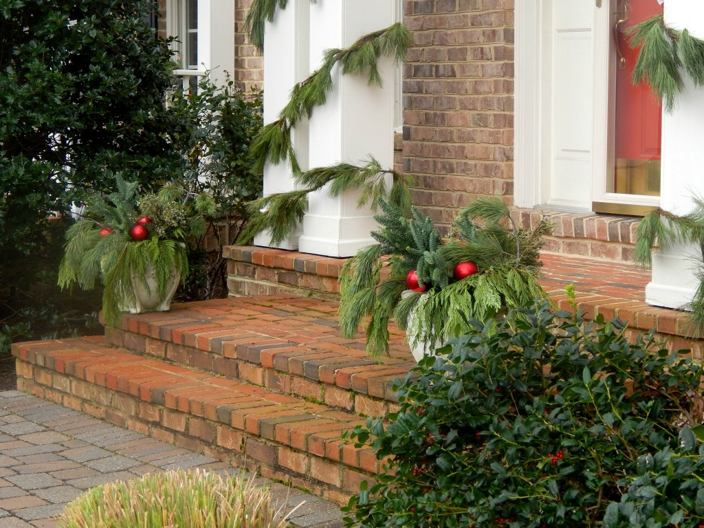 Outdoor Planters prepped fro Christmas.