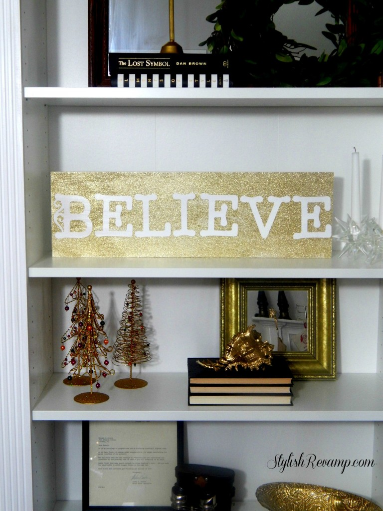Glitter Gold DIY Believe Sign
