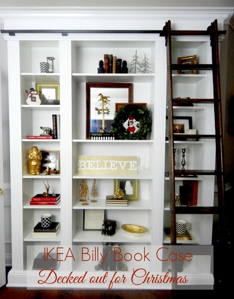 IKEA Billy Bookcase Decked out for Christmas