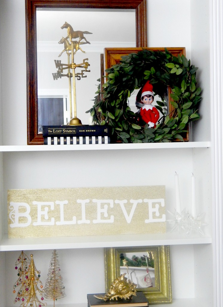 DIY Gold Glitter Believe Sign