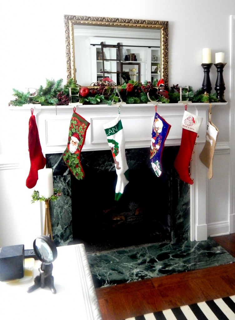 Stockings hanging by the chimney waiting for Santa to fill them.