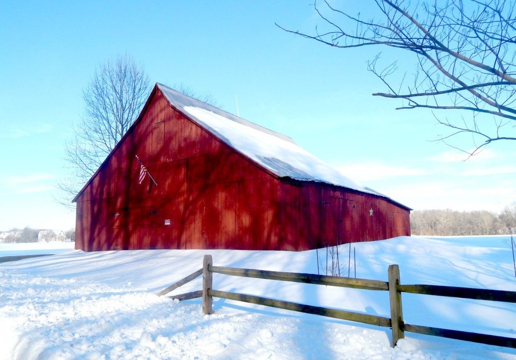 American Flag on the Red Barn