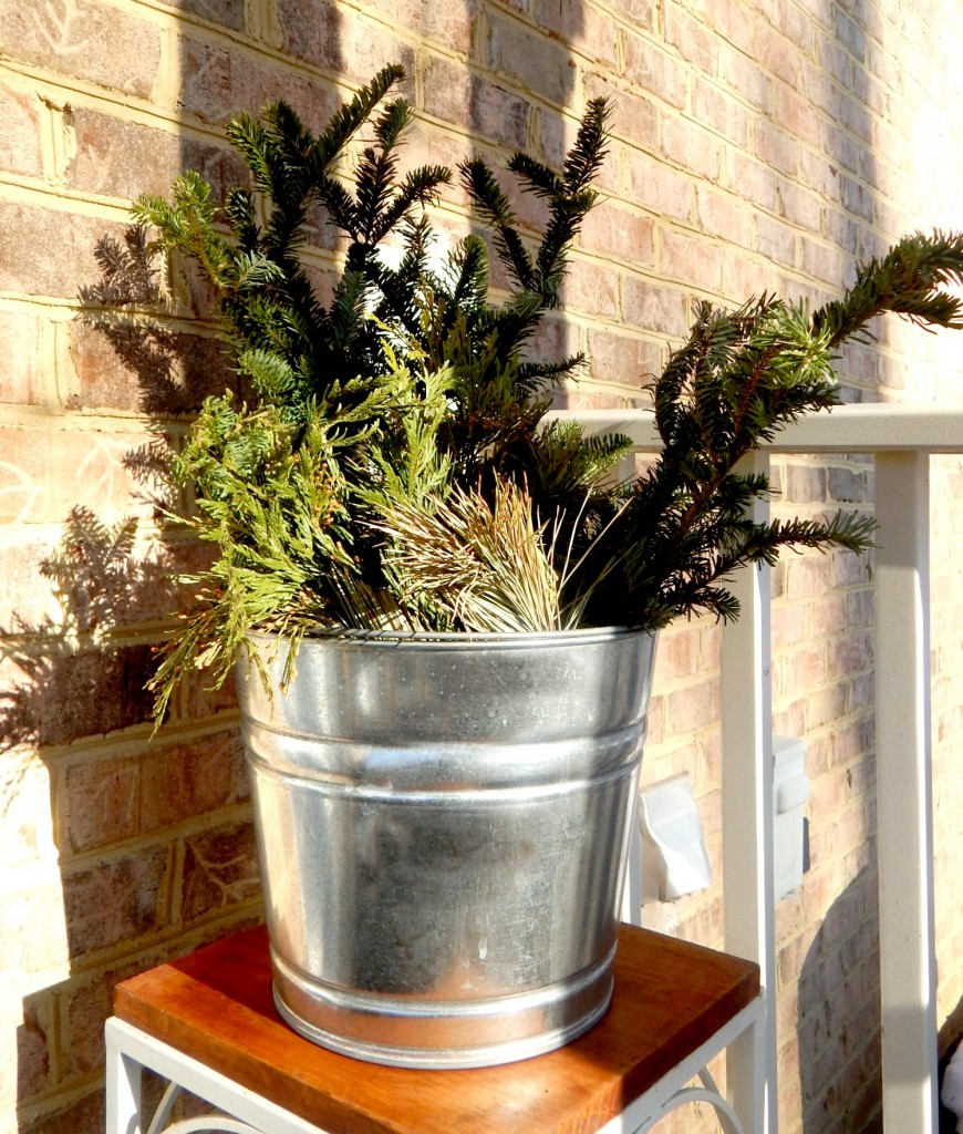 Galvanized bucket with Greenery