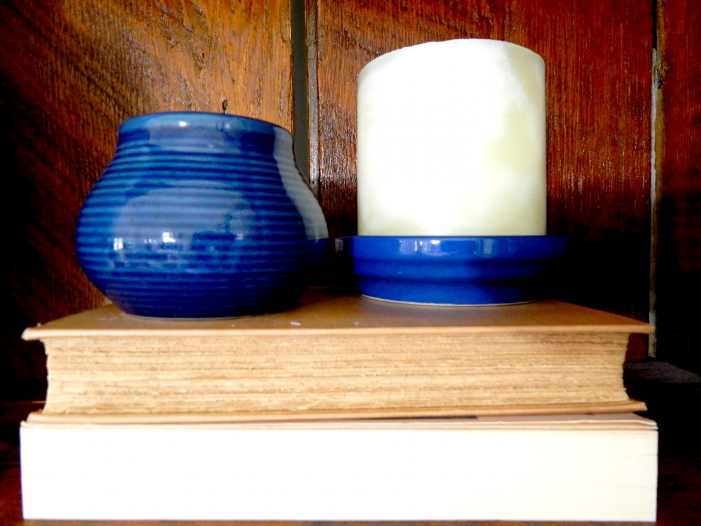 Blue ceramic candle holder from Goodwill