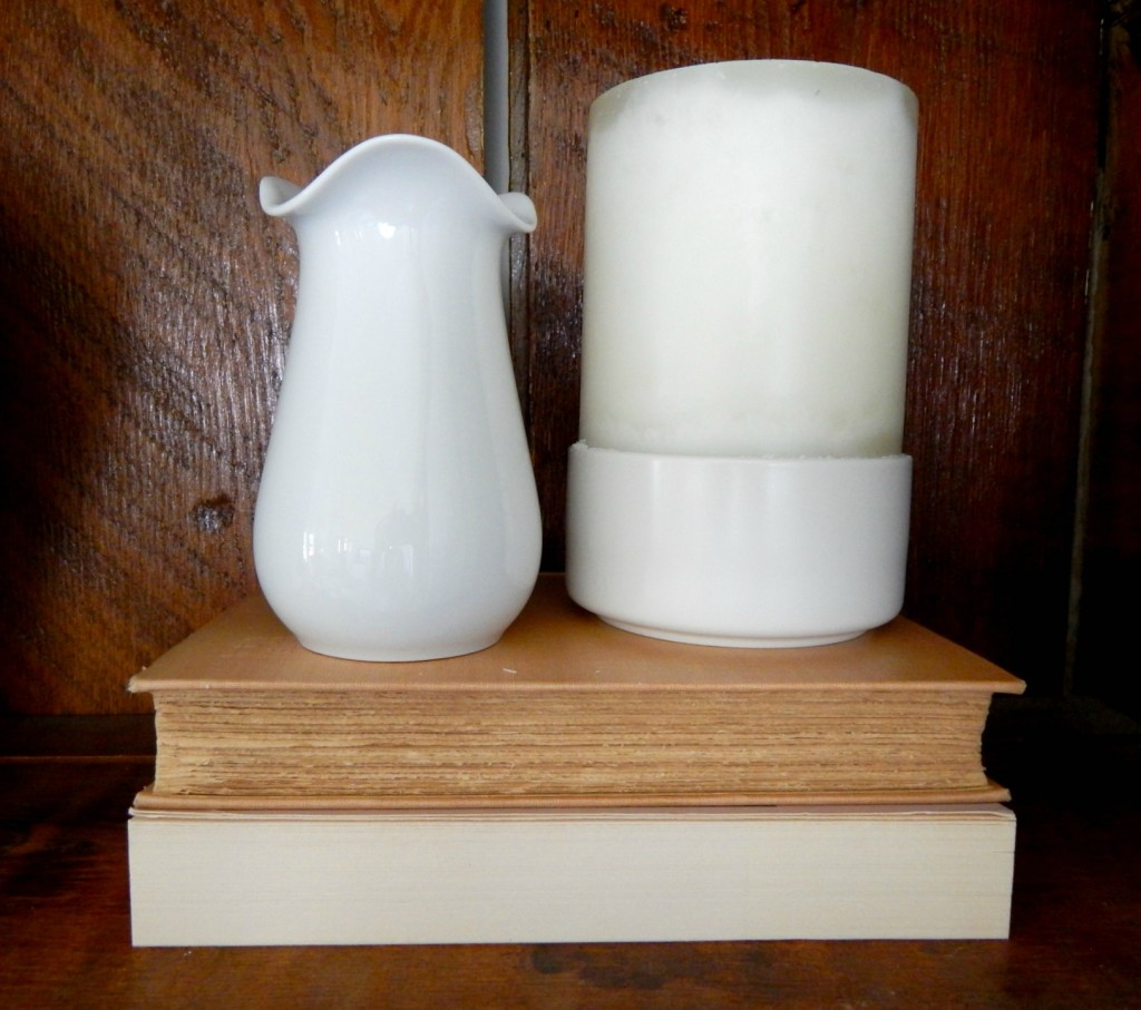 White Vase and Cream bowl/candle holder