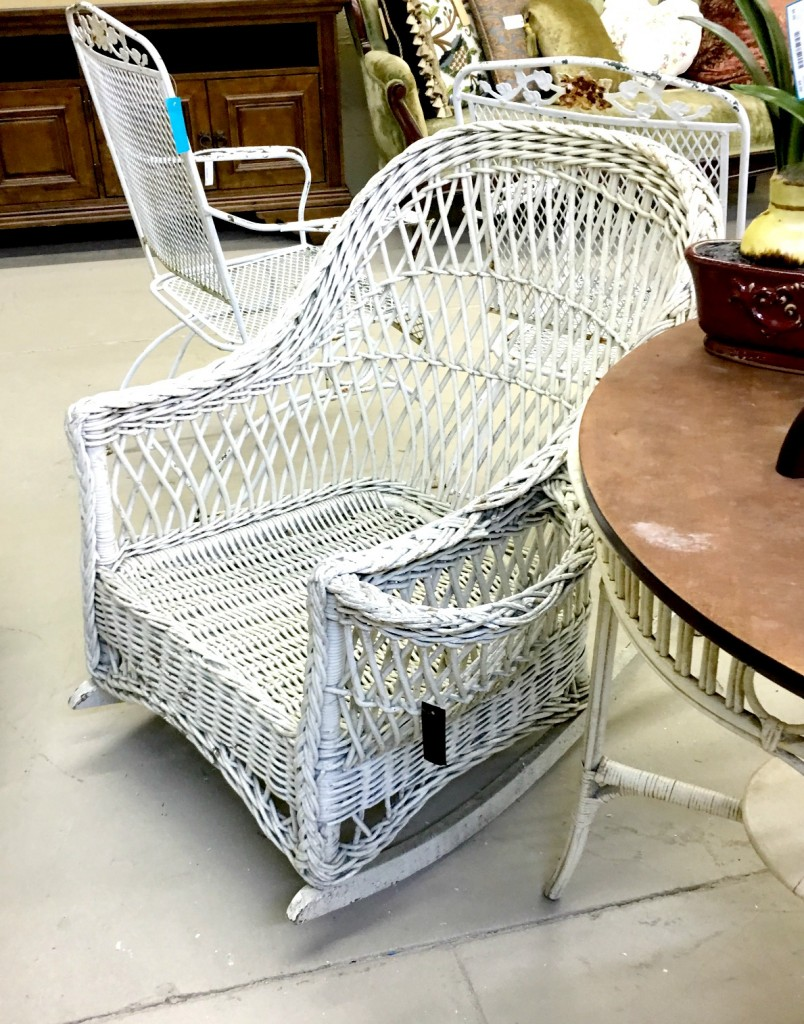 Old white wicker furniture