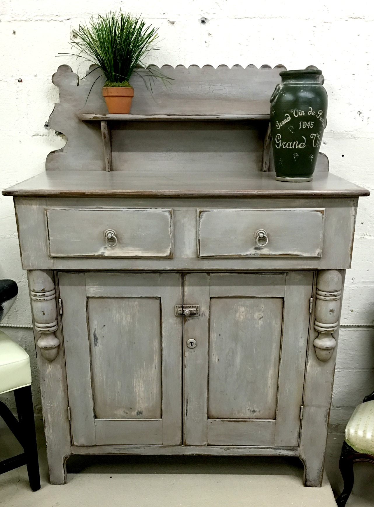 Painted Gray Wood Cabinet. Full resolution  snapshot, nominally Width 1282 Height 1736 pixels, snapshot with #28281A.