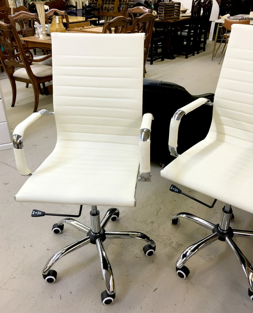 White Leather Desk Chairs
