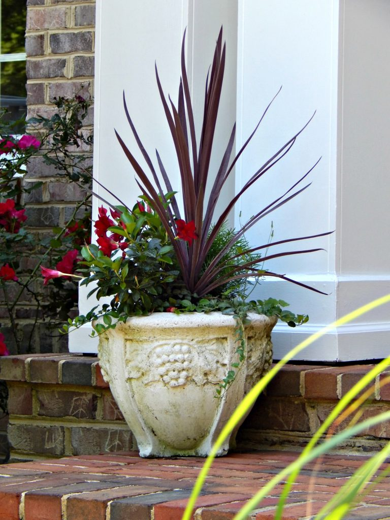 Concrete pots on the front porch