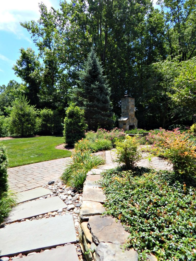 FlagStone Pathway and outdoor Fireplace