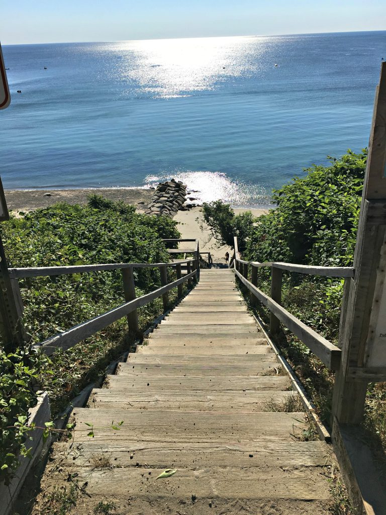 135 steps to the beach.