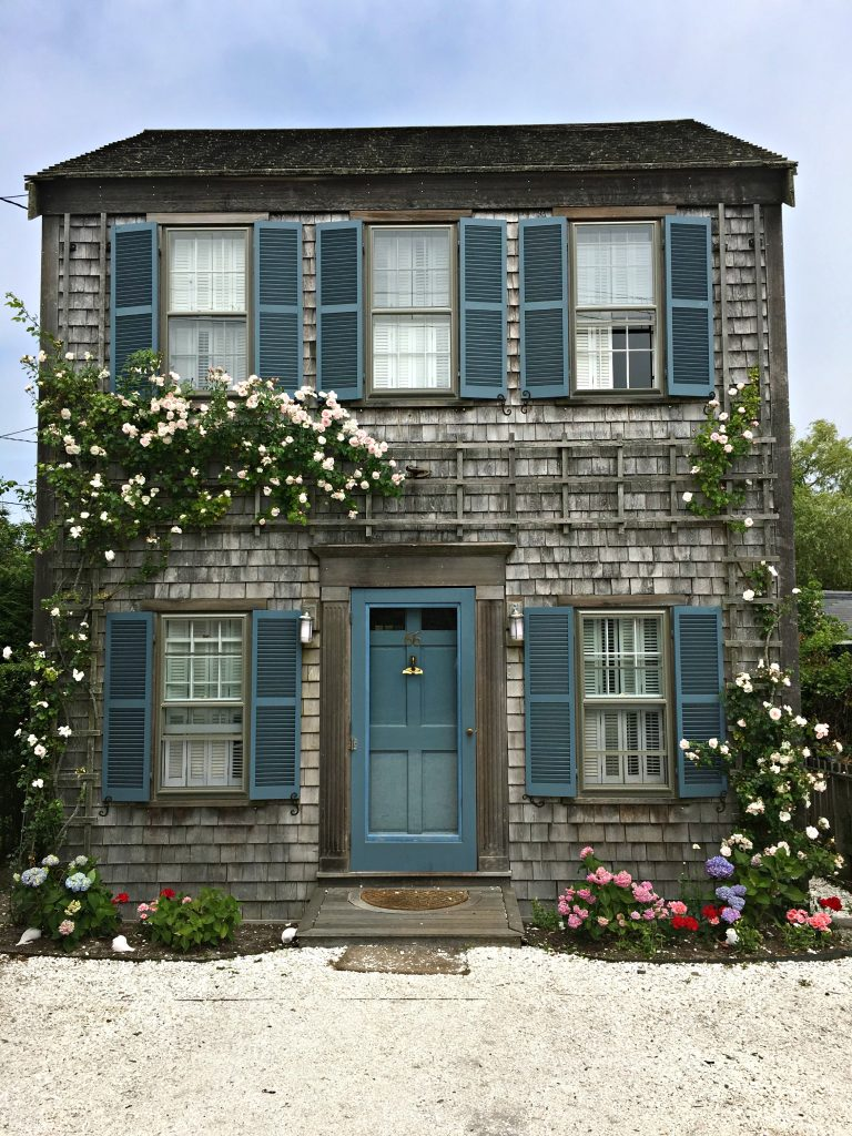 Nantucket home with climbing roses.