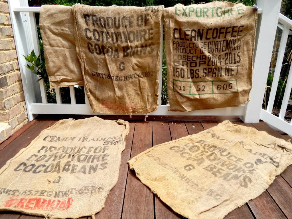 These burlap sack were free from our local nursery.  I want to use then for outdoor pillows.