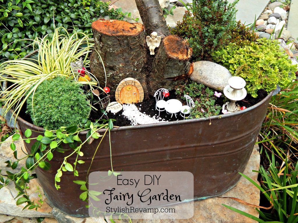 Today we are sharing how to make a Fairy Garden using a copper tub, a few supplies from Michael's Craft Store and and old tree log.