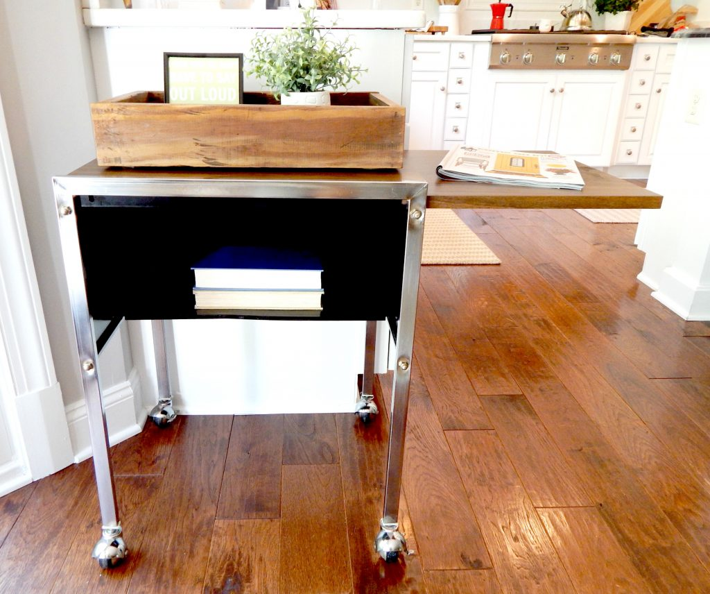 Metal Rolling cart with slide out desk top