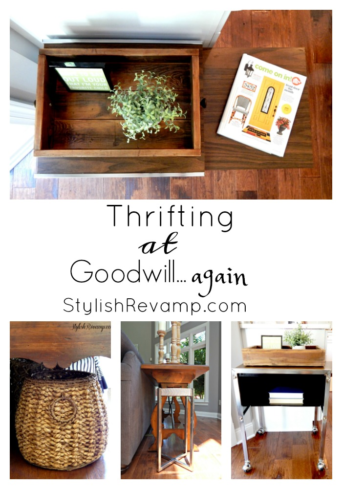 Shopping at Goodwill this week and I scored big.  I found another rolling cart, a beautiful woven basket and a wood and chrome side table.  Stop by the blog stylishrevamp.com to get the details.