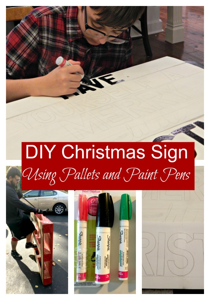 DIY Christmas sign using pallets and paint pens