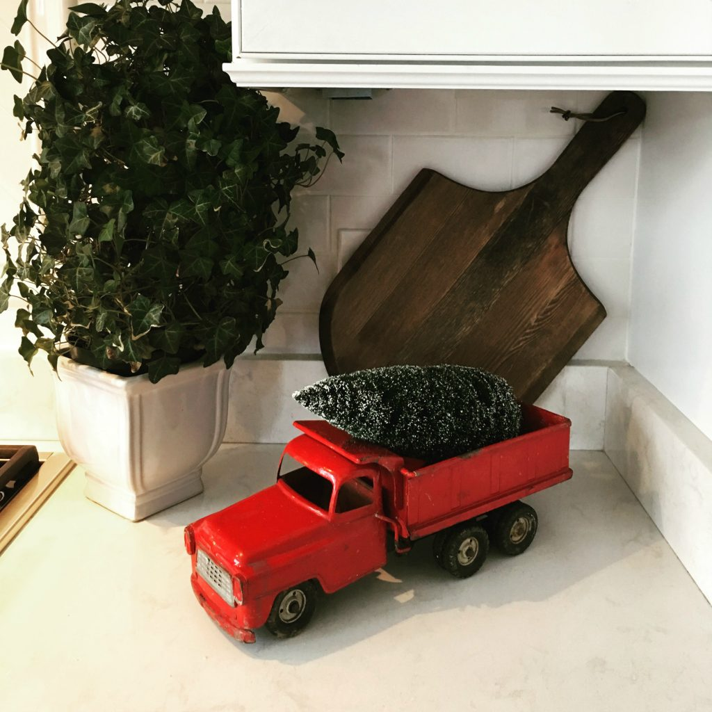Decorating with my husband's vintage toy truck