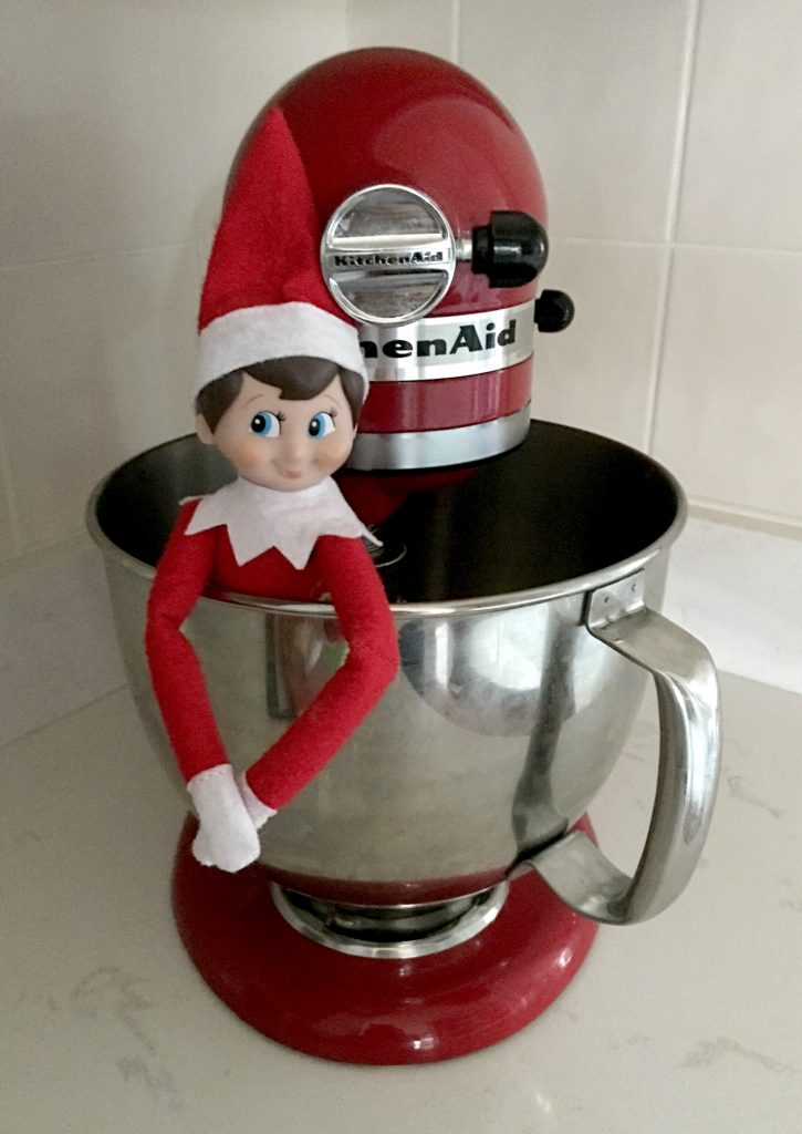 Our Elf on the Shelf named Harry Frost still makes an appearance every year.