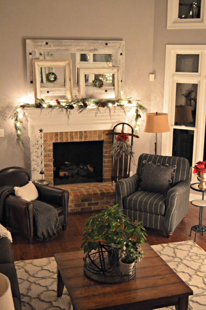 Family Room fireplace dressed for Christmas.