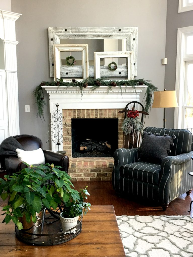 Family Room mantel dressed for Christmas