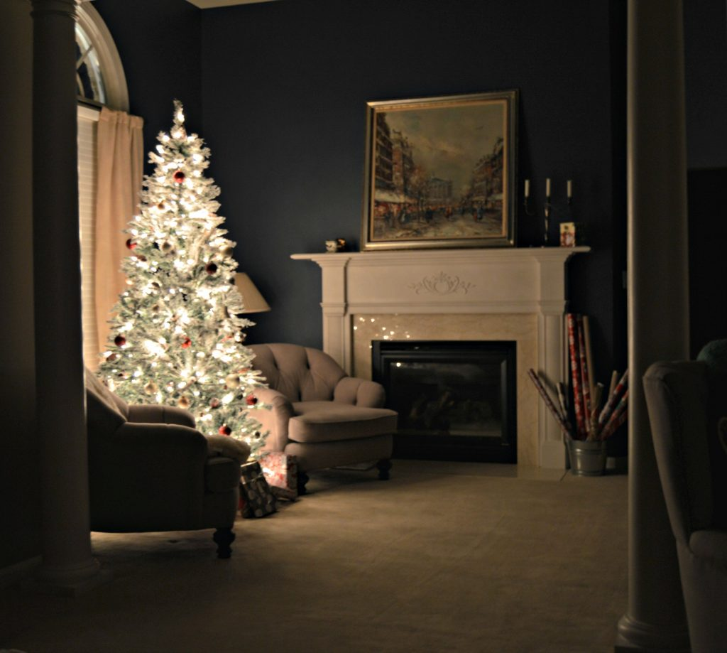 Christmas tree in the master bedroom.