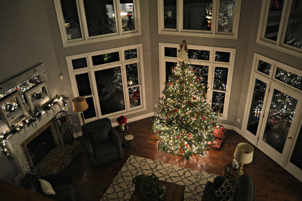 Night time Christmas tour of the Family room.