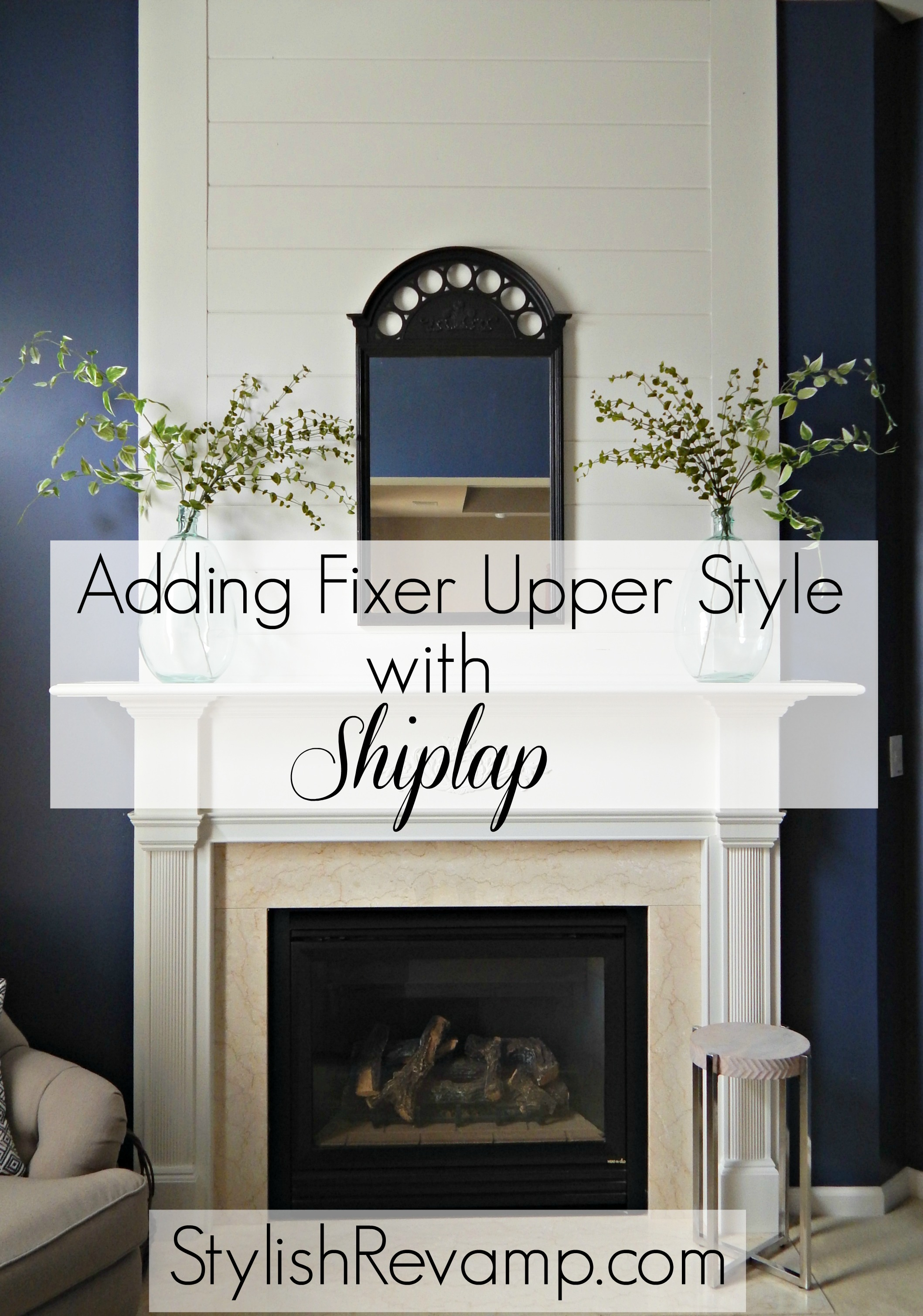 how to get the fixer upper look by adding shiplap. Black Bedroom Furniture Sets. Home Design Ideas