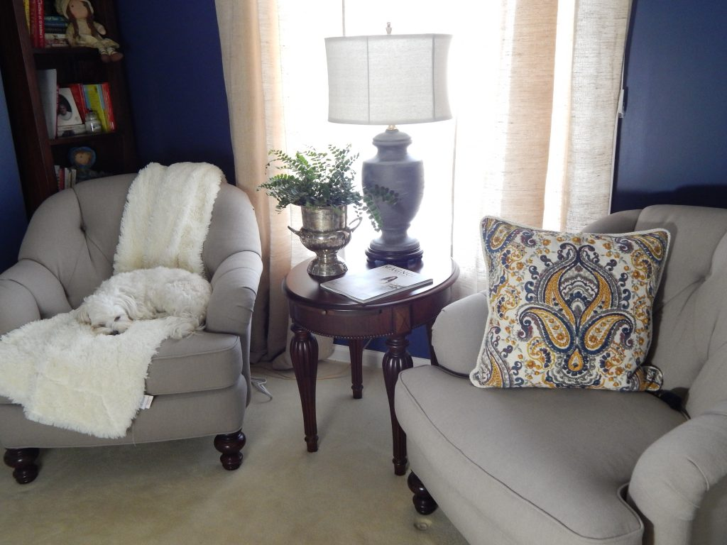 My slipcovered chairs and painted Amy Howard lamp
