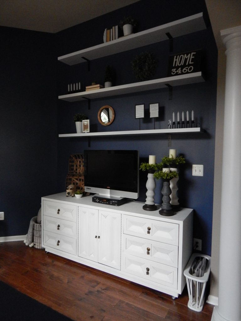 GoodWill credenza and DIY Shelving